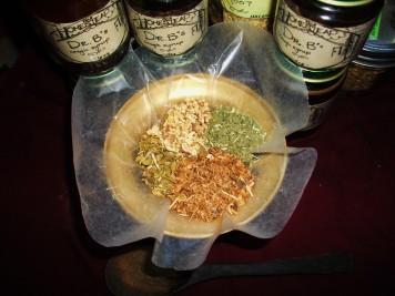 clockwise from top: licorice root, horehound, wild cherry bark, lobelia
