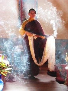 Burning ritual incense at a ceremony, Tara Mandala 2010