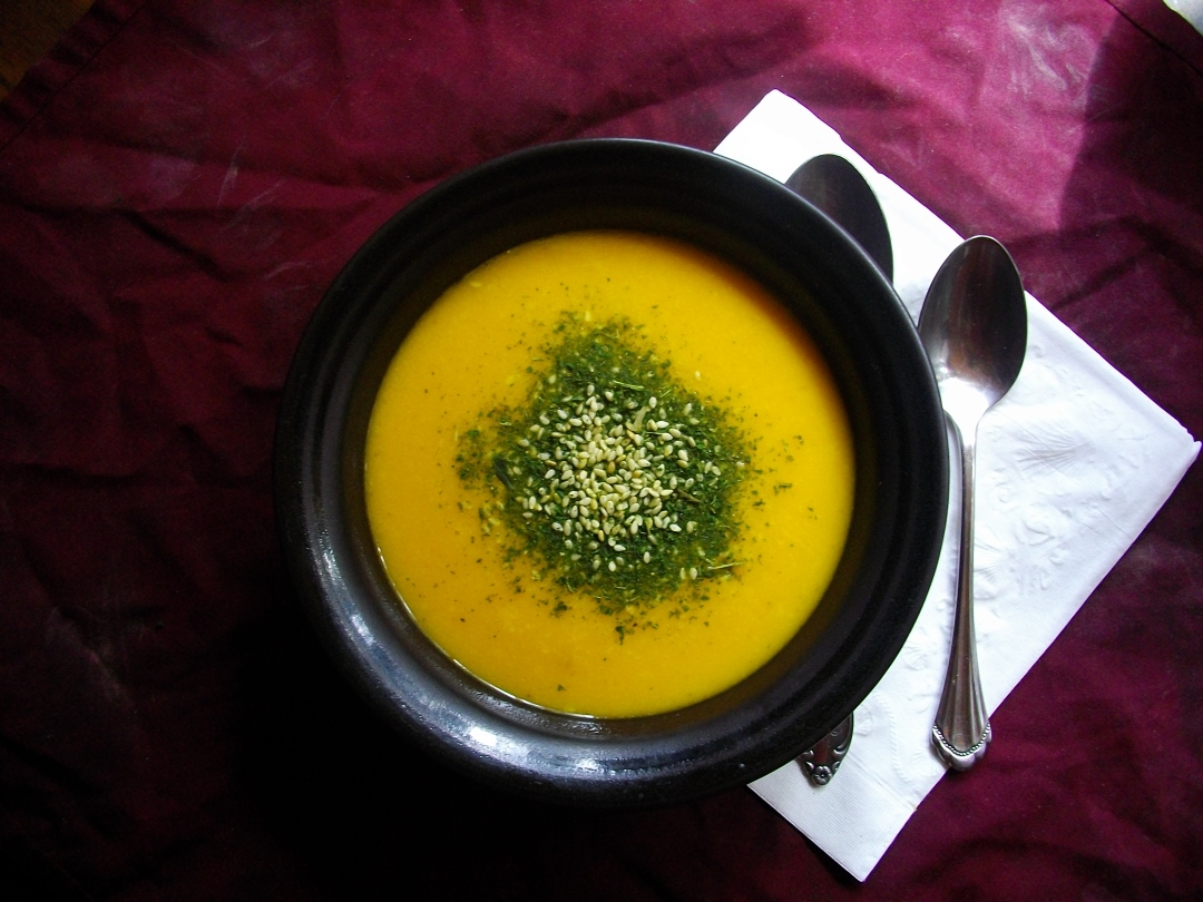 a delicious, simple, warming bowl of butternut squash soup with Nettle-Me seasoning