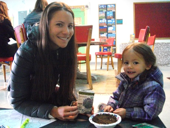 Angie Samadhi of Mystic Makers planting seeds with her daughter at our April Tea Party