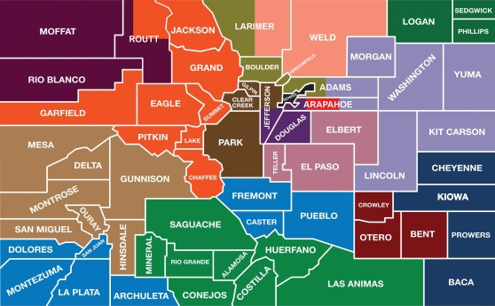 Boulder county is in olive, in the North-Central region. Gilpin County is in brown, directly South of Boulder County.