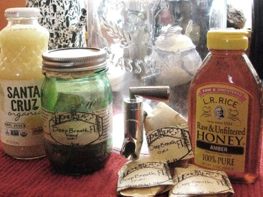 Lemon juice, honey, and Deep Breath bulk or individual sachets