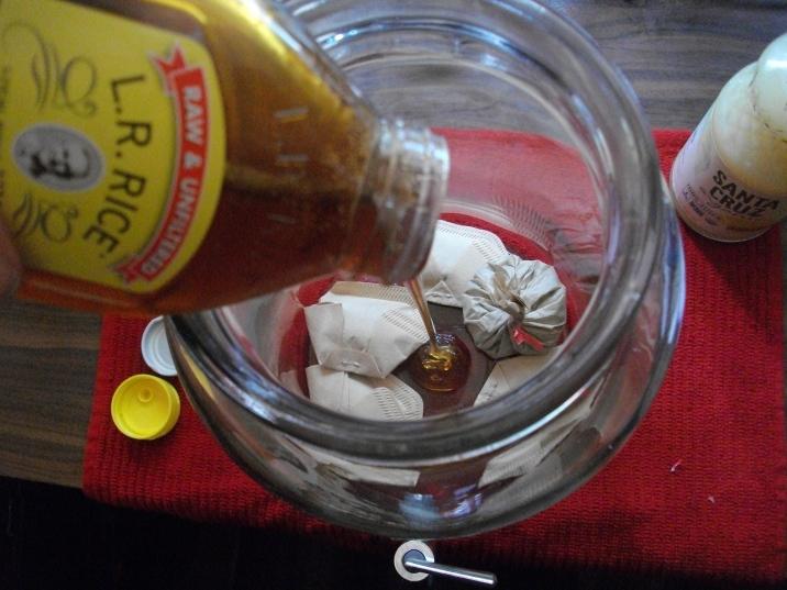 Add honey & lemon juice. Pour boiling water into jar.